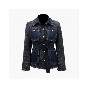 Jeans Stitching Coarse Tassel Tweed Jacket