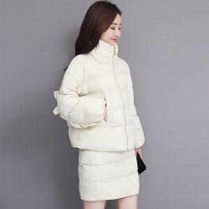 Fashion Loose Stand Collar Parka Warm Casual Skirts Jacket