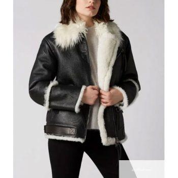 Aviator Black And White Shearling Jacket