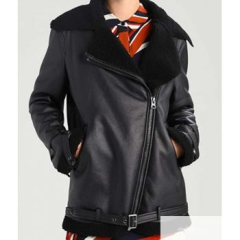Black Shearling Leather Women's Jacket