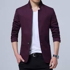 Blazer Men Jackets Male Stand Collar