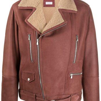 Brown zipped aviator jacket
