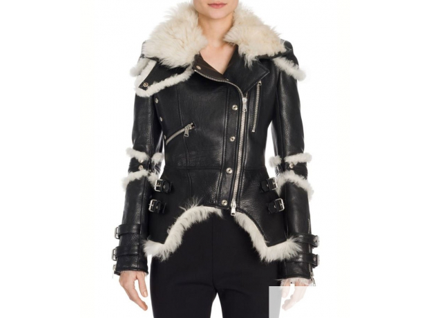 Elisa Black Leather Shearling Biker Jacket