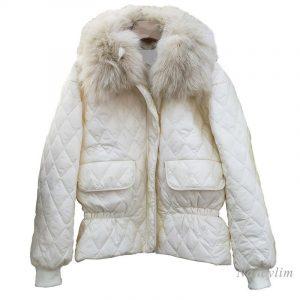 Genuine Fur Collar Parka Cotton-Padded Skirts Jacket