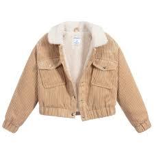 Girls Beige Corduroy Jacket