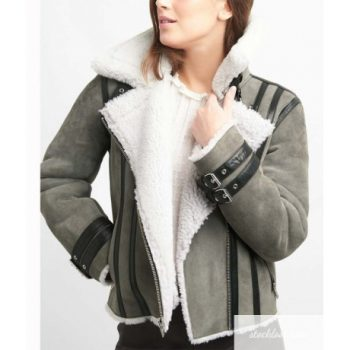 Grey Suede Leather Shearling Motorcycle Jacket