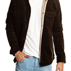 Men Umber Brown Velvet Jacket With Fur Collar