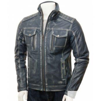 Mens Blue Waxed Café Racer Jacket