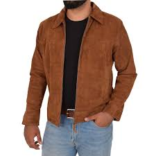 Men's Brown borg lined faux western jacket