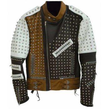 Men's Cafe Racer Studded Leather Jacket