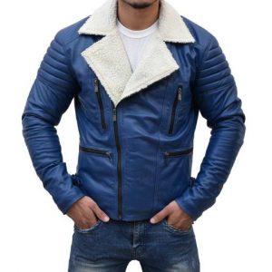 Mens Designer Asymmetrical Shearling Blue Jacket
