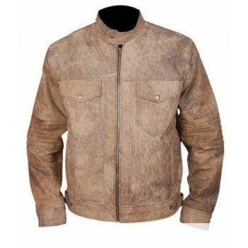 Men's Khaki Café Racer Jacket