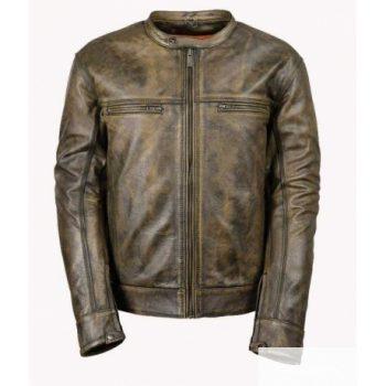 Men's Motorcycle Distressed Brown Cafe Racer Jacket