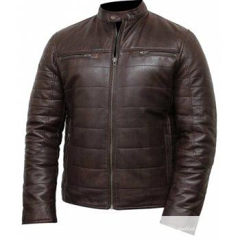 Mens Puffer Brown Leather Café Racer Jacket