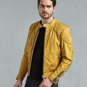 Men's Yellow Café Racer Leather Jacket
