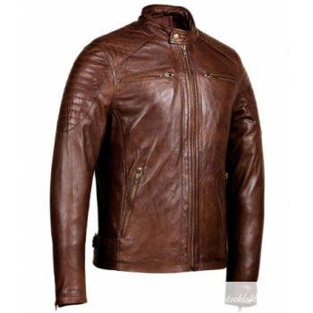 Men's Zipper Pockets Brown Cafe Racer Jacket