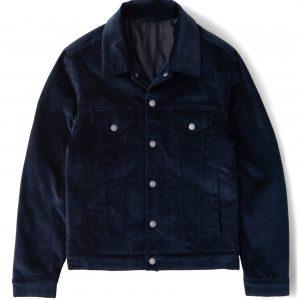 Navy Blue Corduroy Trucker Jacket