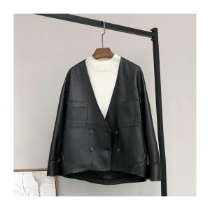 Leather v neck drop shoulder double breasted faux leather jackets
