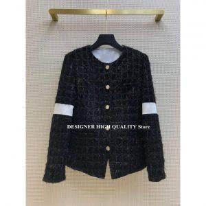 Retro Tassel Wool Blends Tweed O-neck Patchwork Long Sleeve Jacket