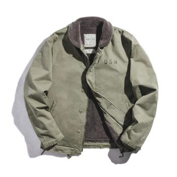 Sherpa Fleece Lined Button Down Cotton Jacket