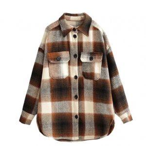 Sherpa Long sleeve woolen fashion thick plaid streetwear oversize jacket