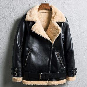 Bomber Lamb Fur Fashion Outerwear Leather Jacket