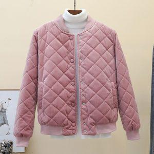 Bomber zipper long sleeve cotton-padded jacket