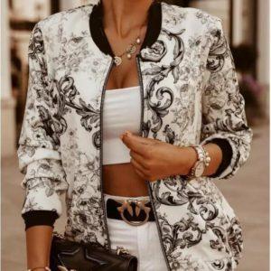 Bomber Thin Printing Fashion Long Sleeve Coat Casual Jackets