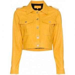 Women Yellow Fashion Short Body Leather Jacket