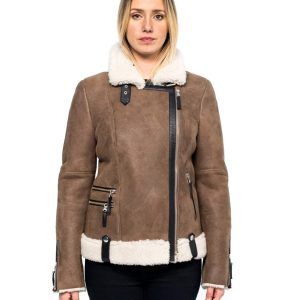 Womens Aviator Style Brown Shearling Jacket