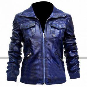 Womens Leather Bomber Blue Jacket