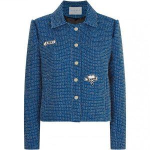 Womens Sandro Lurex Tweed Embellished Blue Jacket