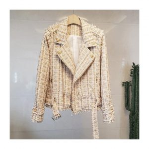 Lady Unique Button Long Sleeve Design Fashion Tweed Jacket