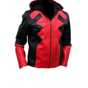 Deadpool Hooded Leather Jacket
