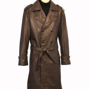 John Shaft Brown Leather Coat