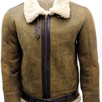Light Brown Sheepskin Aviator Flying Leather Jacket