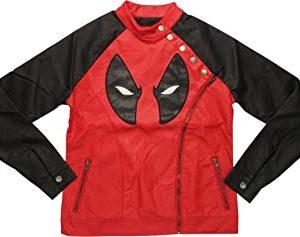 Mighty Fine Juniors Deadpool Side Zip Moto Jacket