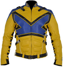 X Men Blue & Yellow Leather jacket