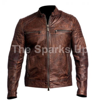 Cafe Racer Retro Vintage Biker Classic Distressed Brown Genuine Leather Jacket
