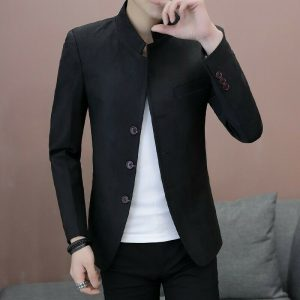 Men's Blazer Jacket Stand Collar Single Breasted
