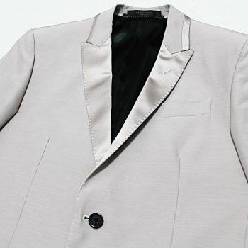 $886 Italy MESSAGERIE Light-Dove Satin-Lapel Tuxedo Blazer Jacket Large 50-IT 40
