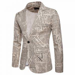 Men Slim Fit Newspaper Printed Suit Jacket One Button Party Wedding Suit Blazer