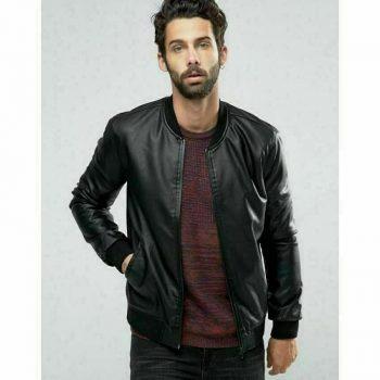 Slim Fit Biker Black Genuine Lambskin Pure Leather Jacket With Bomber Style Coat