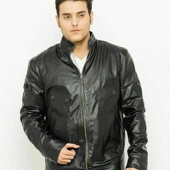 Men's Black Leather Bomber Classic Style Fit Biker jacket Real Classic Outerwear