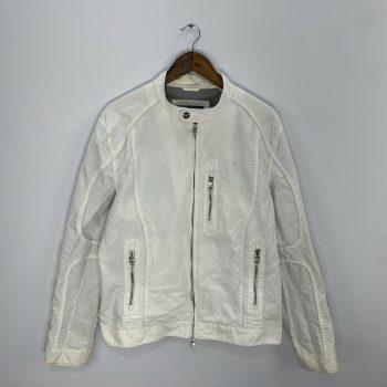 Armani Exhange White Cotton L/S Full Zip Biker Moto Jacket Men's Size L Large