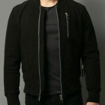 New Men Genuine Lambskin Black Suede Leather Jacket Slim fit Biker Moto Jacket
