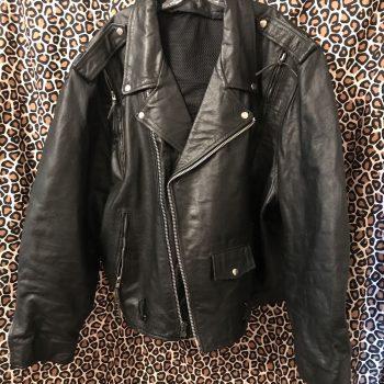 Leather King Men's Black Leather Terminator Motorcycle Biker Jacket, Size 54