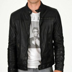Mens Leather Biker Jacket Real Lambskin Designer Slim Fit Premium Jacket EX67