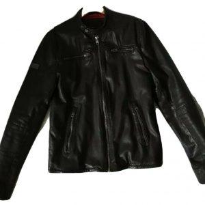 Mens superdry brown Leather Biker Jacket size M