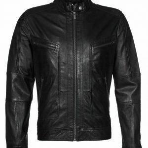 Mens Genuine Leather Biker Jacket Slim Fit Outwear Racing Sports Jacket EX74